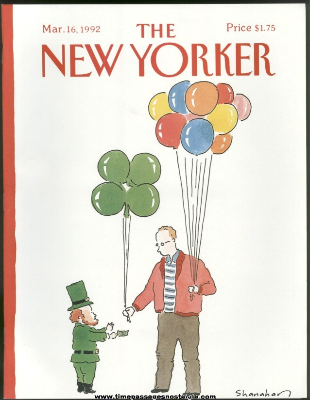 New Yorker Magazine - March 16, 1992 - Cover by Danny Shanahan