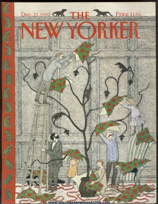 New Yorker Magazine - December 21, 1992 - Cover by Edward Gorey