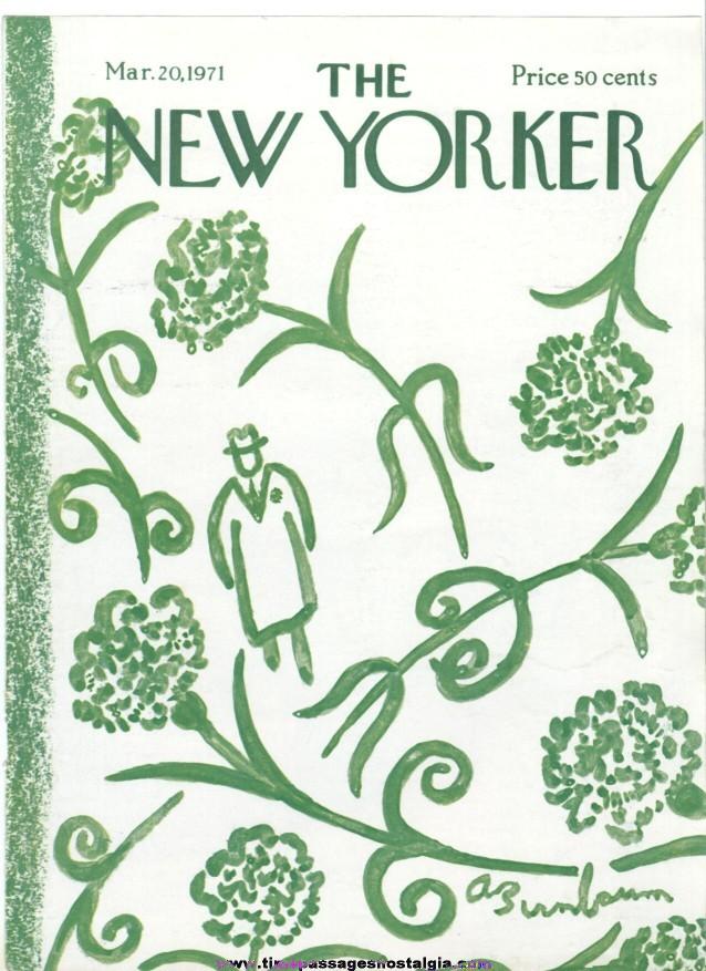 New Yorker Magazine COVER ONLY - March 20, 1971 - Abe Birnbaum