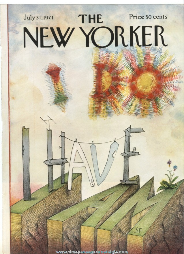New Yorker Magazine COVER ONLY - July 31, 1971 - Saul Steinberg