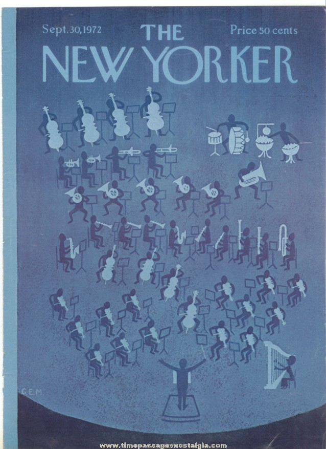 New Yorker Magazine COVER ONLY - September 30, 1972 - Charles E. Martin