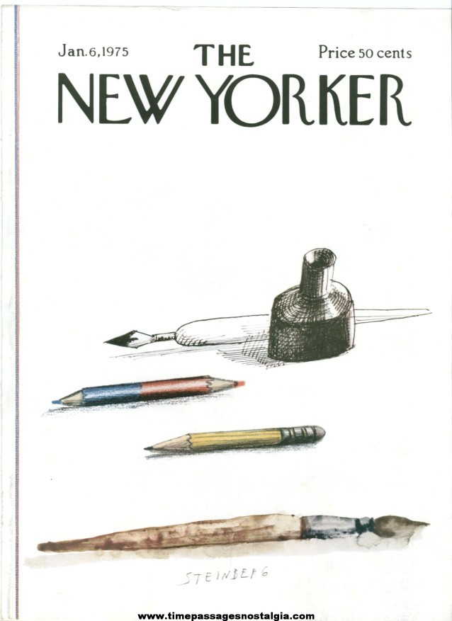 New Yorker Magazine COVER ONLY - January 6, 1975 - Saul Steinberg