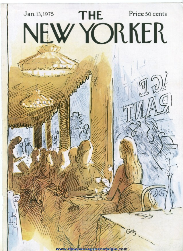 New Yorker Magazine COVER ONLY - January 13, 1975 - Arthur Getz