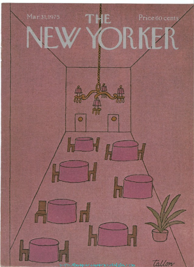 New Yorker Magazine COVER ONLY - March 31, 1975 - Robert Tallon