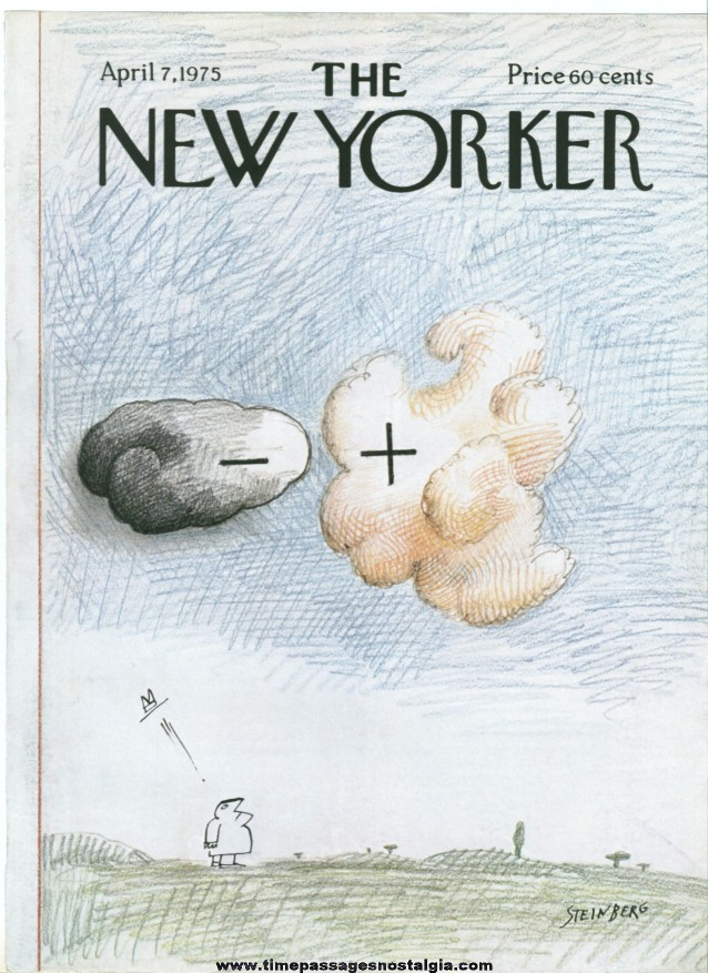 New Yorker Magazine COVER ONLY - April 7, 1975 - Saul Steinberg