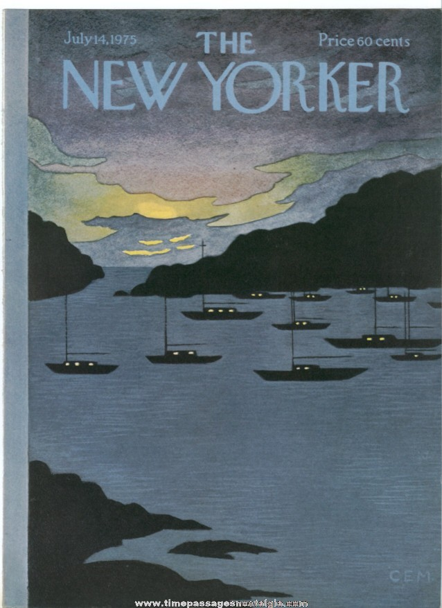 New Yorker Magazine COVER ONLY - July 14, 1975 - Charles E. Martin
