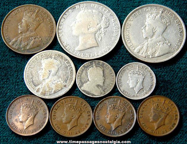 10 Old Newfoundland Canada Coins