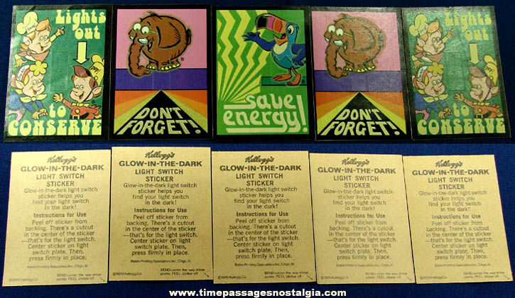 5) Unused ©1979 Kelloggs Character Glow In The Dark Light Switch Cover Cereal Prizes - TPNC